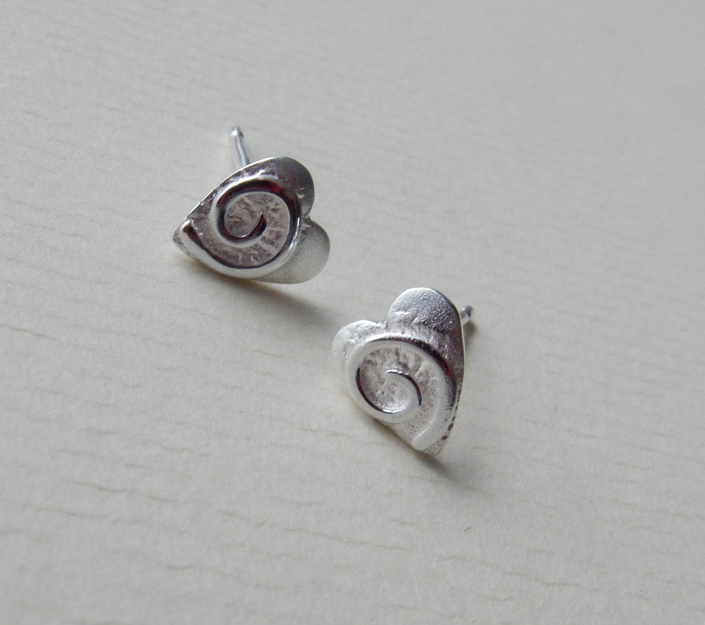 Swirly Heart Stud Earrings