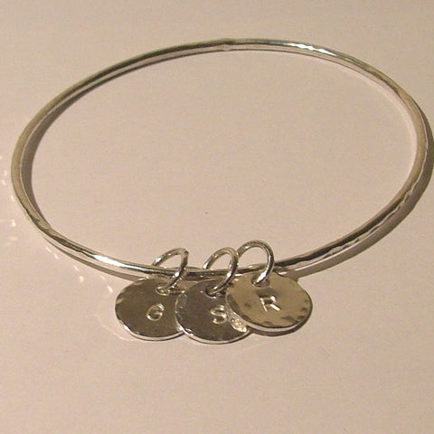 Personalised Bangle with Three Charms