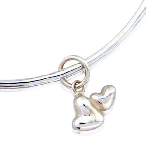 Double Heart Charm Bangle