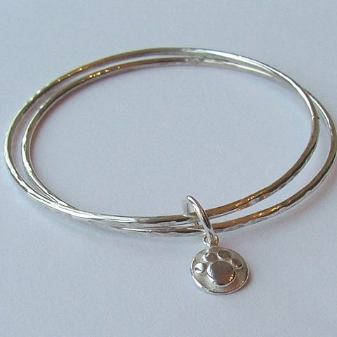 Double Bangle with Pawprint Charm