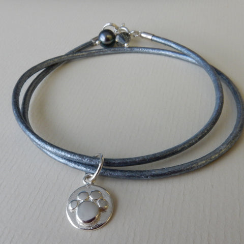 Paw Print Leather Charm Bracelet