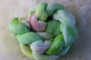 Pink and Green Merino Fibre