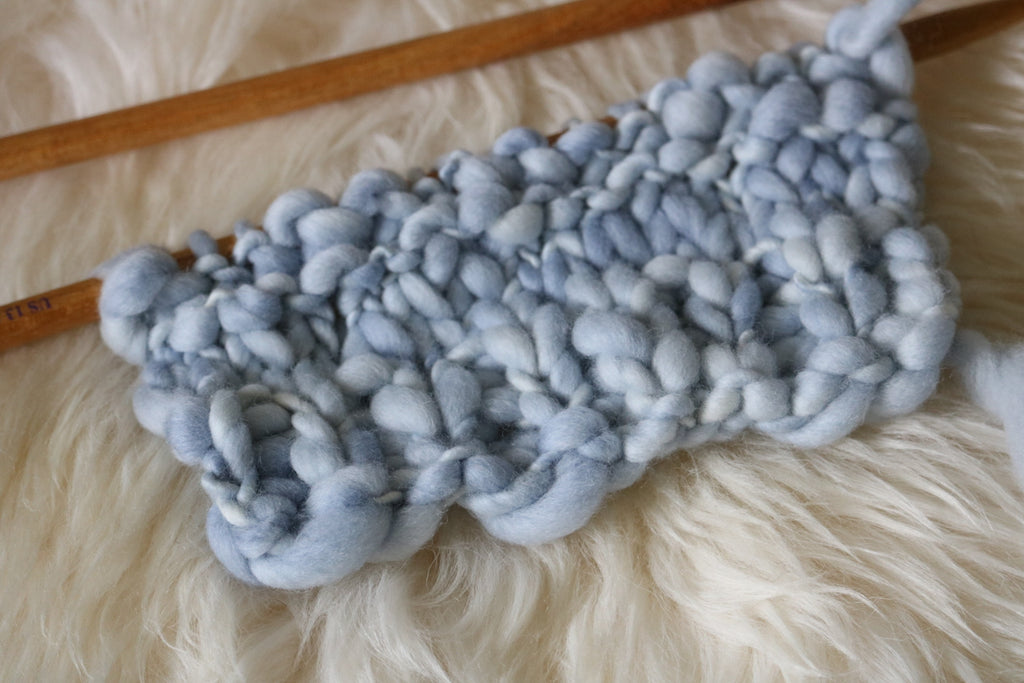 Ice Blue Thick & Thin Troelli Yarn