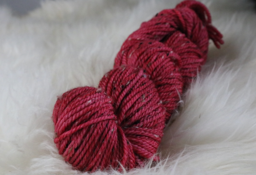 Olann Donegal Tweed Aran Winterberry Red