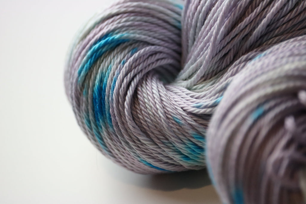 Lilac Splotch DK weight hand dyed pima cotton