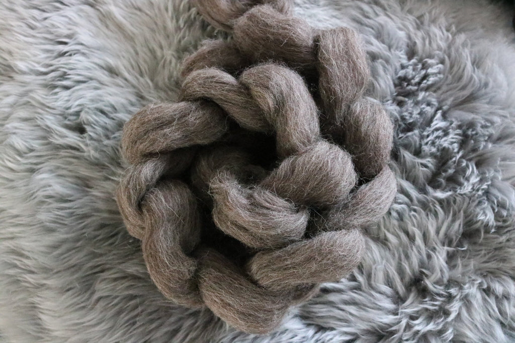 Naked Jacob Top Braid - wool roving spinning or felting fibre