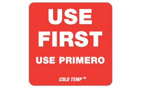 "Label, Cold Temp, ""USE FIRST"" (1-13/16""x1-13/16"")"