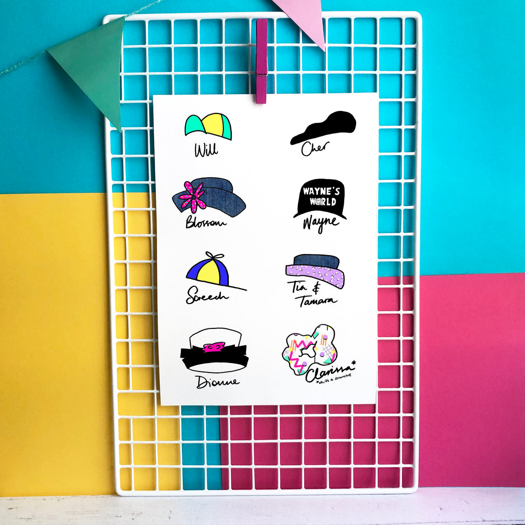 Hat Icons of the 90s Illustration - A5 print