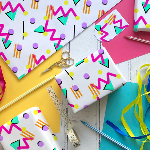 90s Pattern wrapping paper and gift tags