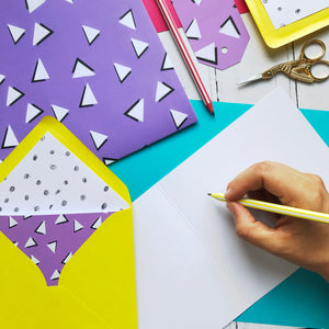 Purple 90s Triangles - blank greeting card