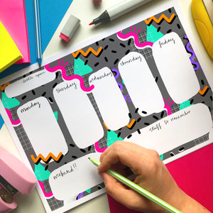 80s squiggle A4 weekly planner - digital download