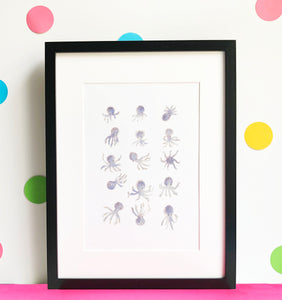 Cute Octopuses Illustration - unframed giclee print