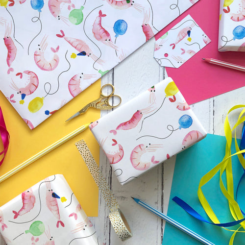 Party Prawns wrapping paper and gift tags