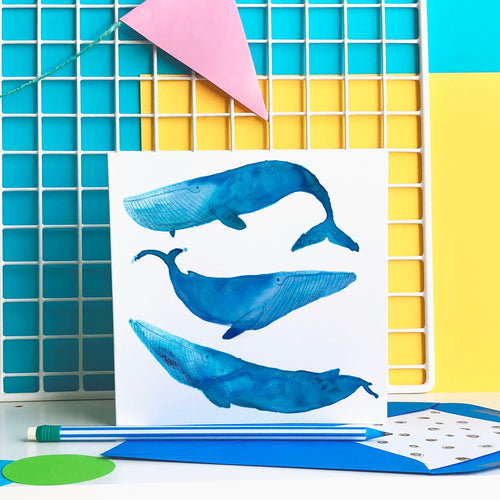 Blue Whales card - blank greeting card