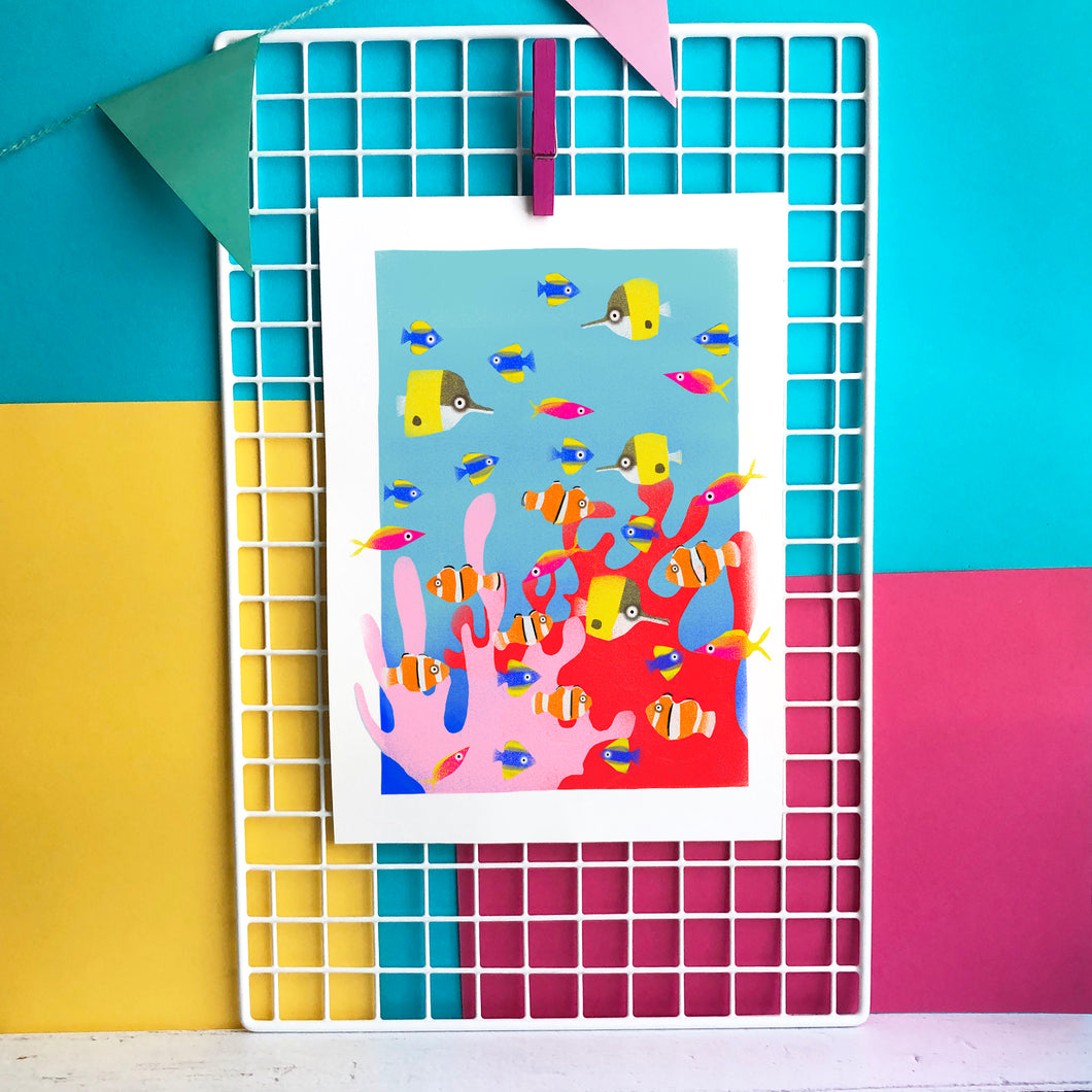 Colourful Corals - digital illustration - unframed giclee print