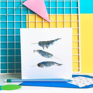 Narwhals card - blank greeting card
