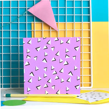 Load image into Gallery viewer, Purple 90s Triangles - blank greeting card