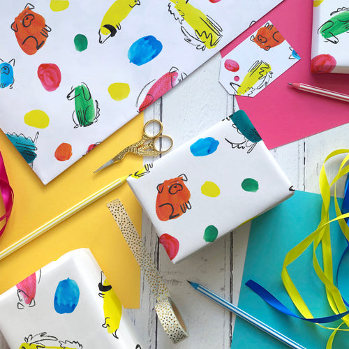 Rainbow Polka Dogs wrapping paper and gift tags