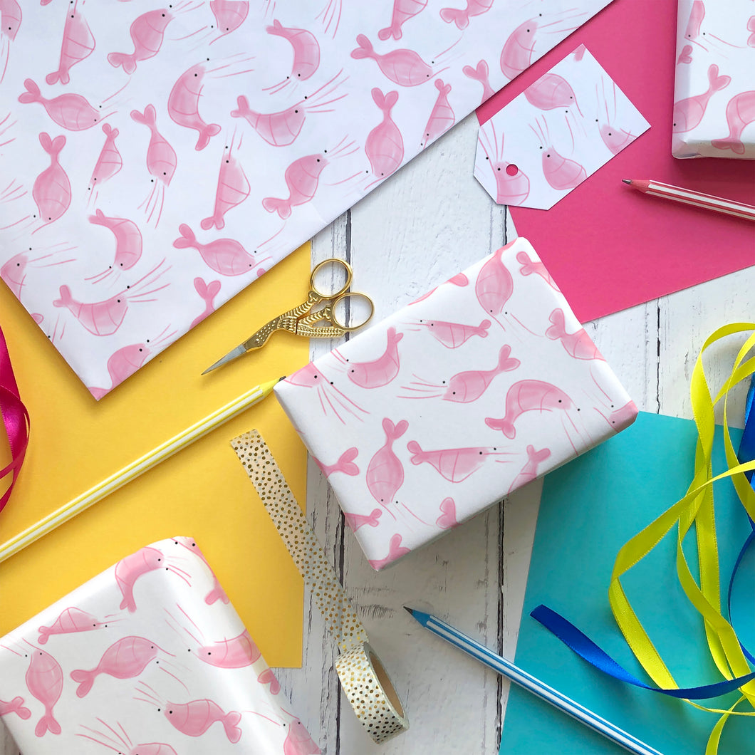 Shrimp wrapping paper and gift tags