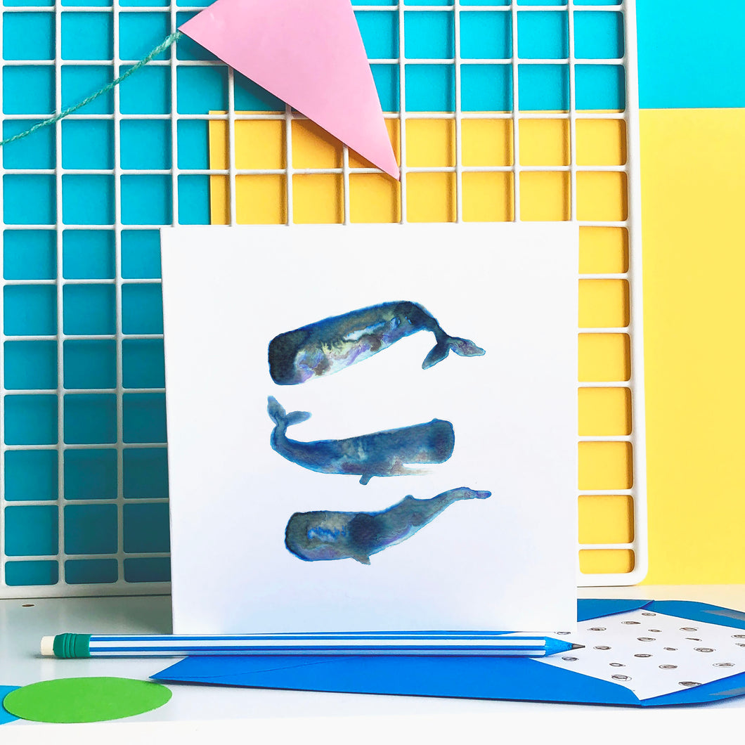 Sperm Whales card - blank greeting card