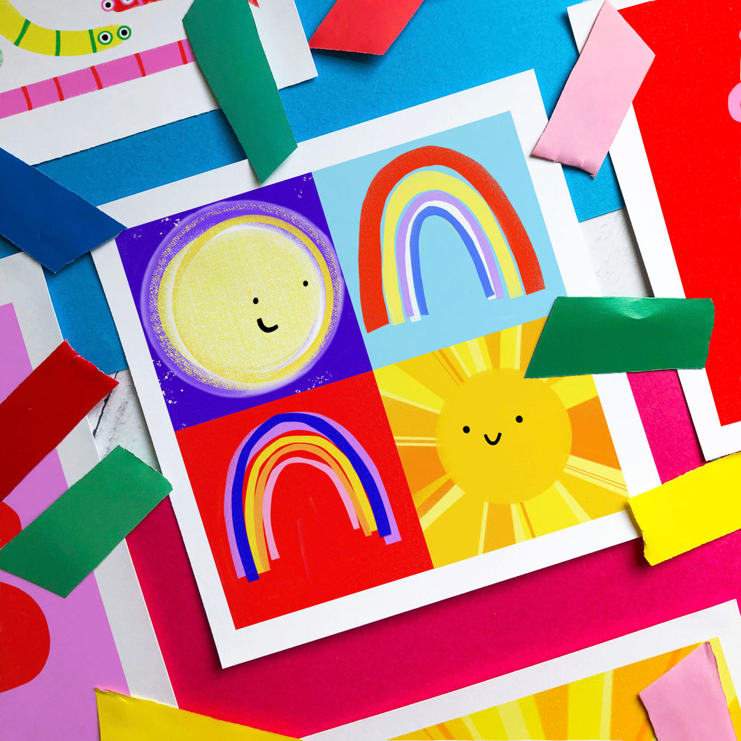 Sun Moon Rainbows - square giclee illustration print