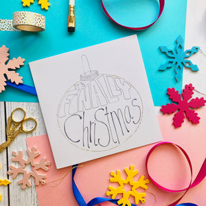 Glitter Bauble Christmas Card - blank card