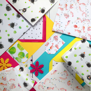 Shrimp Christmas wrapping paper and gift tags