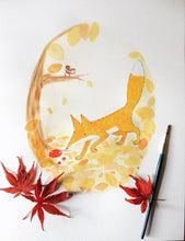 Load image into Gallery viewer, Autumn Fox illustration - unframed giclee print