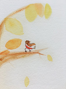 Autumn Fox illustration - unframed giclee print