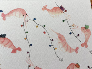 Christmas Party Prawns - blank greeting card