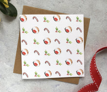 Load image into Gallery viewer, Festive Pattern Christmas Card - candy canes, robins, holly, red white and green, cute christmas card