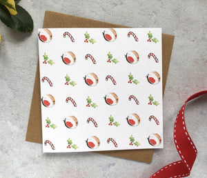 Festive Pattern Christmas Card - candy canes, robins, holly, red white and green, cute christmas card