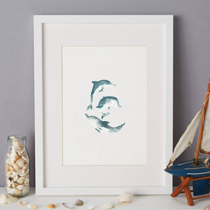 Dolphin Illustration - unframed giclee print