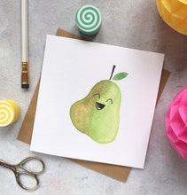 Load image into Gallery viewer, Laughing Pear - blank greeting card