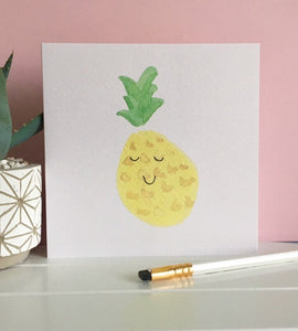 Happy Pineapple - blank greeting card