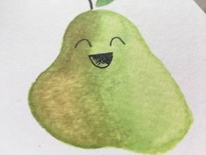 Laughing Pear - blank greeting card