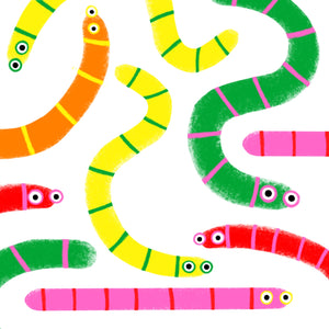 Worms - square giclee illustration print