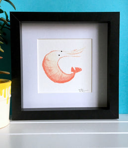 Curly Prawn Illustration - Framed Mini Giclee Print