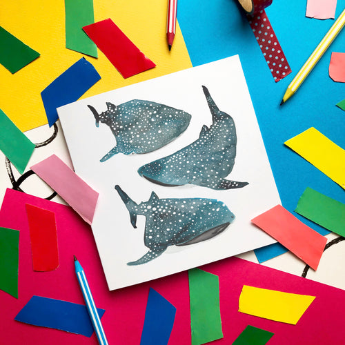 Whale Shark card - blank greeting card