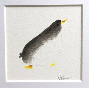 Curious Penguin Illustration - Framed Mini Giclee Print