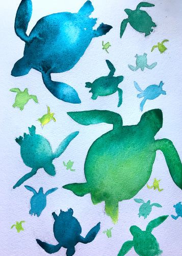 Sea Turtle illustration unframed Giclee print