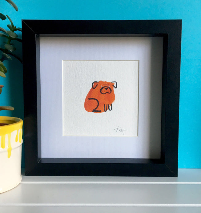 Bulldog Illustration - framed mini giclee print