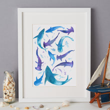 Load image into Gallery viewer, Sharks Illustration - unframed giclee print