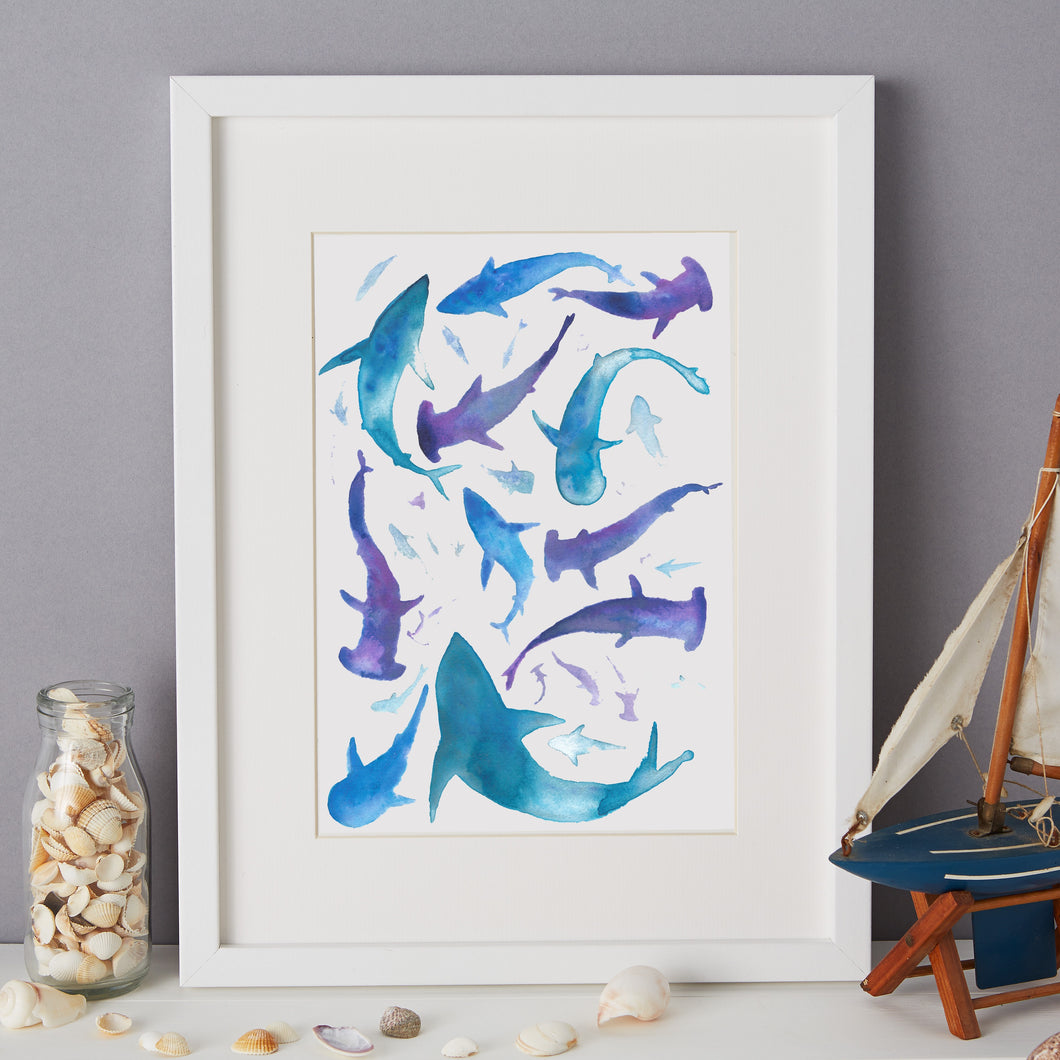 Sharks Illustration - unframed giclee print