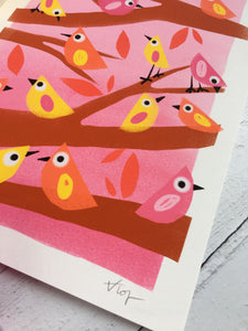 Little Birds Illustration - unframed giclee print