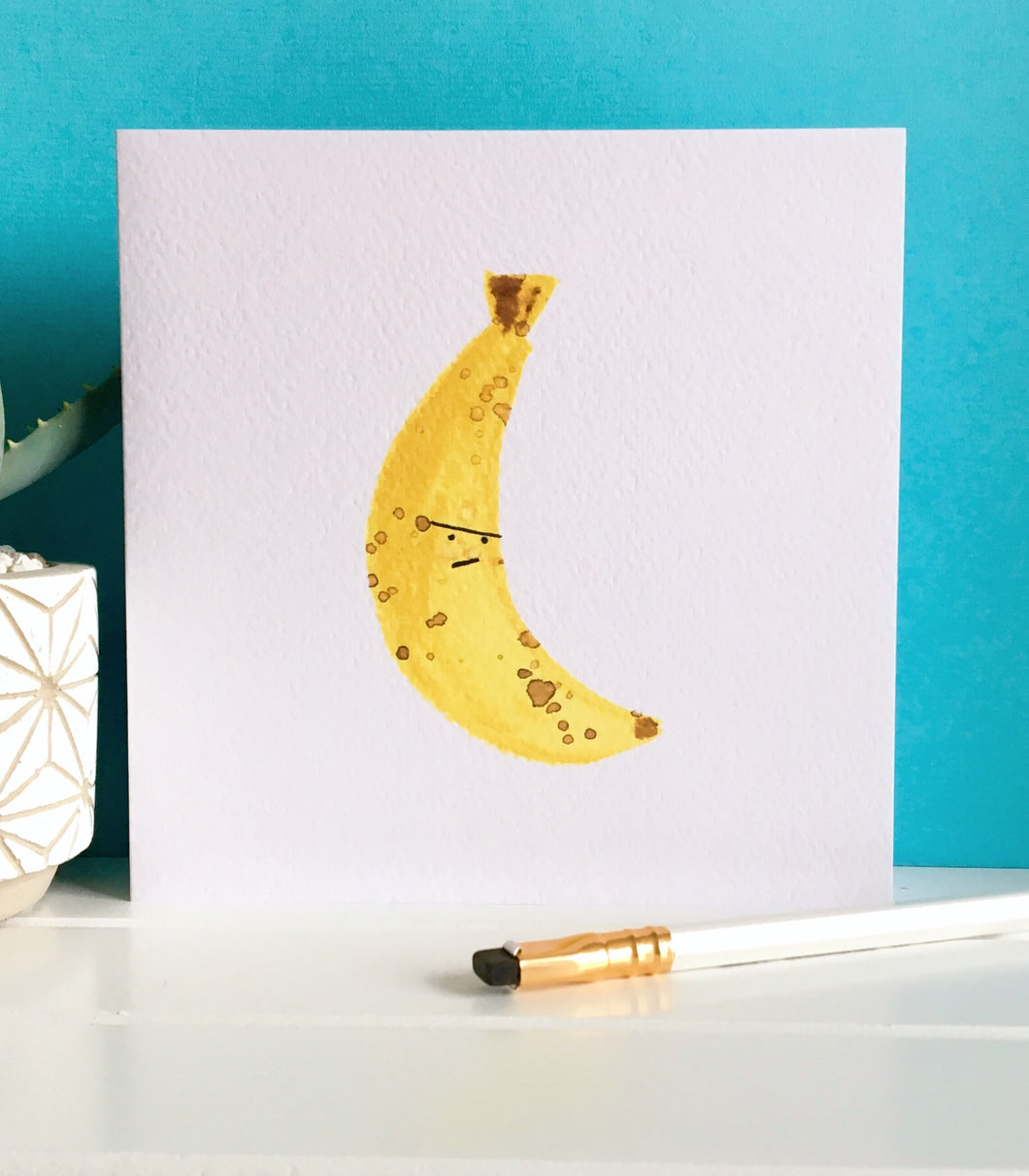 Grumpy Banana - blank greeting card