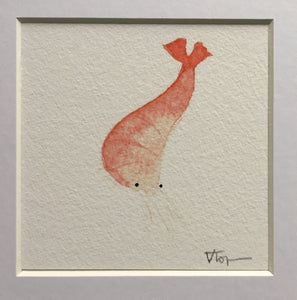 Squiggly Prawn Illustration - unframed Mini Giclee Print