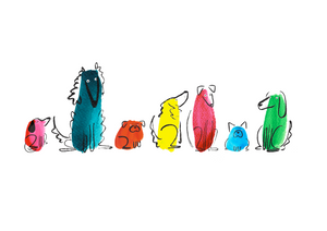 Dog Line Up Illustration - unframed giclee print