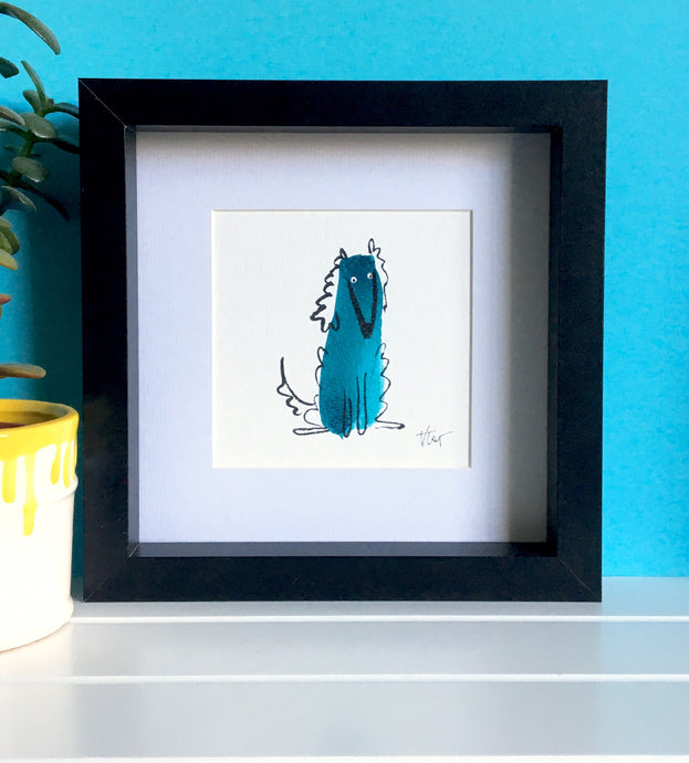 Afghan Hound Illustration - framed mini giclee print