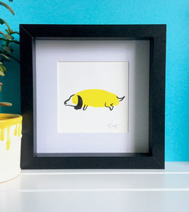 Daschund Illustration - framed mini giclee print